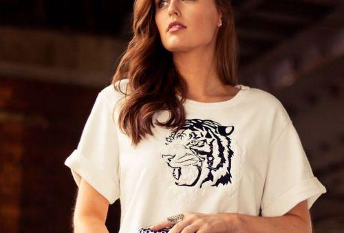 Tigre Grande Haut Taille Brodé Zara Pull BwqxI5d5z