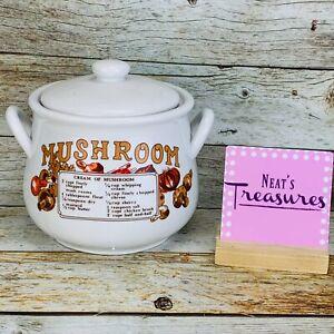 Vintage Midwestern Home Products Mushroom Soup Recipe Large W Lid Crock Tureen