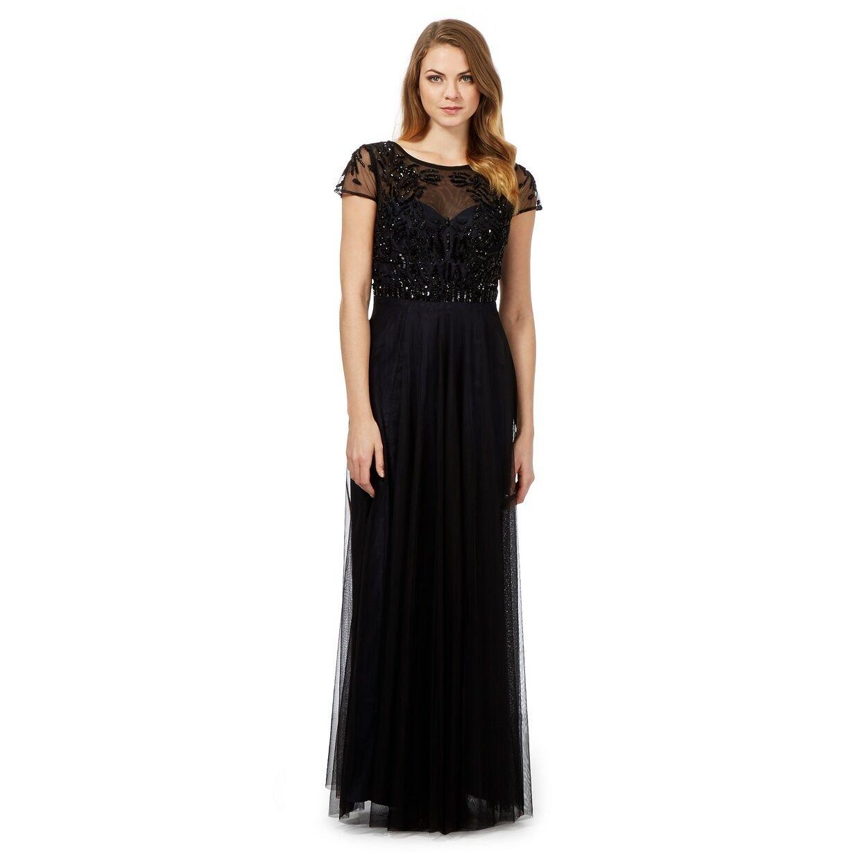 BNWT Debenhams DEBUT schwarz OPERETTA Embellished Maxi Dress Größe 14-RRP