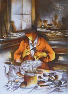 Poulet Raymond: Escritor Sobre Vaso - Litografía Firmada a Lápiz #450ex