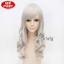 70CM Long Curly Silver White Hair Women Cosplay Wig For Marvel Comics Black Cat