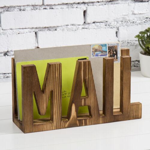MyGift Wall Mounted or Desktop Dark Brown Wood Cutout Design MAIL Letter Holder