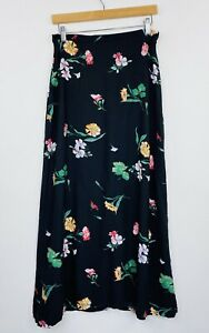Vintage-90s-Womens-Maxi-Skirt-Floral-Black-Rayon-Boho-Grunge-Size-14-fit-10