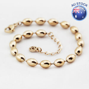 85926602f Women Girl 18K Rose Gold Filled 6MM Oval Ball Beads Solid Simple ...
