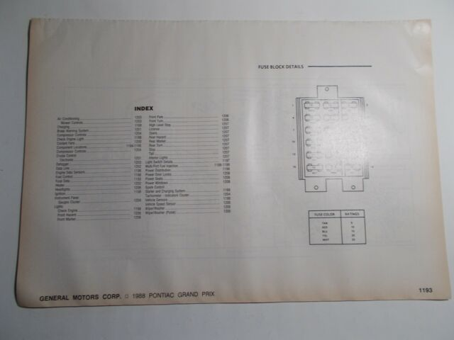 1988 motor pontiac grand prix wiring diagrams  ebay