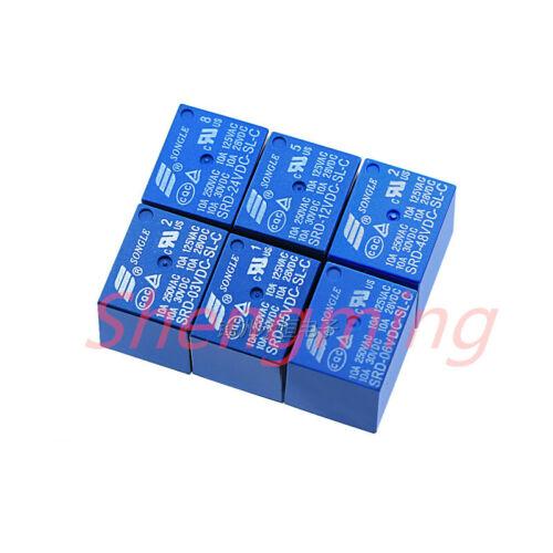SL-C 10A 4pins 5pins Relays 50pcs SRD-03V 05V 06 09V 12V 24VDC-SL-A