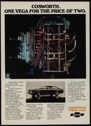 1975 CHEVROLET VEGA with Cosworth Twin Cam Engine CHEVY VINTAGE AD