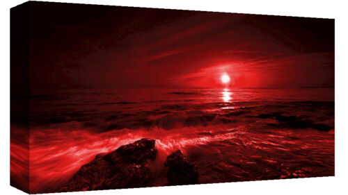 PANORAMIC RED SEASCAPE CANVAS PICTURE WALL ART 40 X 20 (101cm x 50cm)