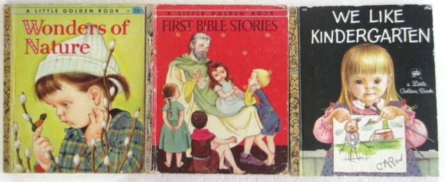 Eloise Wilkin Lot Vintage Little Golden Books We Like Kindergarten Nature Bible