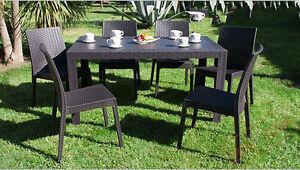 Tavolo e sedie da giardino poltrone set rattan terrazzo for Set giardino esterno
