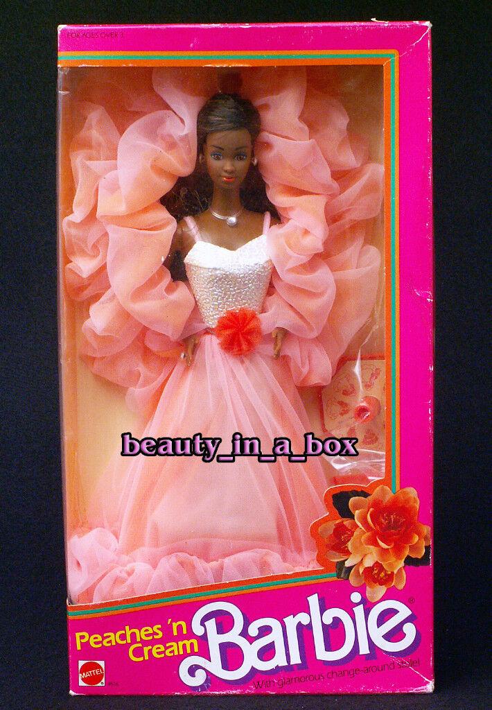 Peaches 'n Cream 1984 AA afroamericano Muñeca Barbie  Muy Bueno Caja  N Y