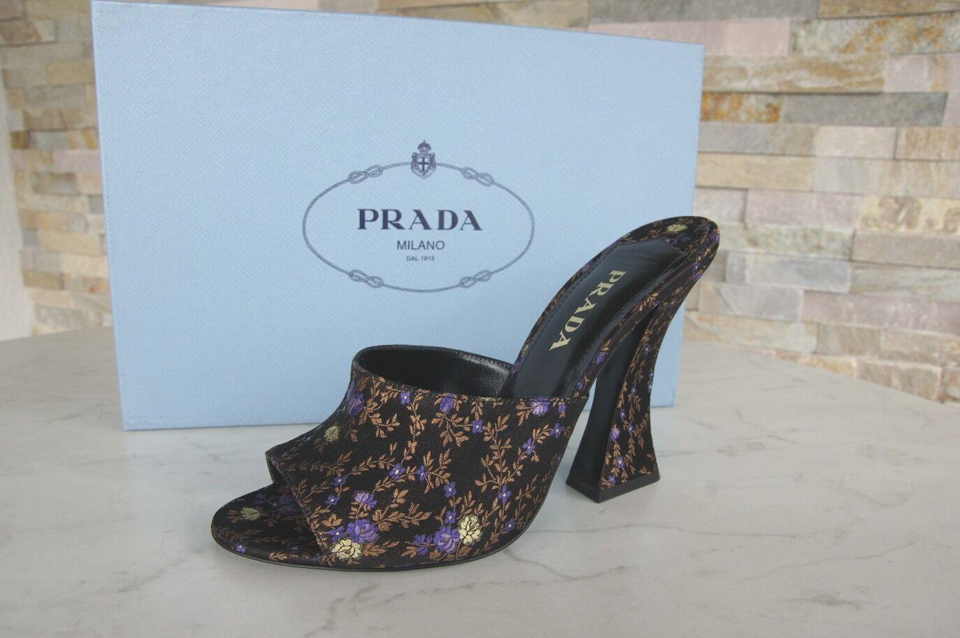 PRADA Heels Gr 37,5 Pantoletten Sandaletten Heels PRADA Schuhe schwarz floral NEU 34599b