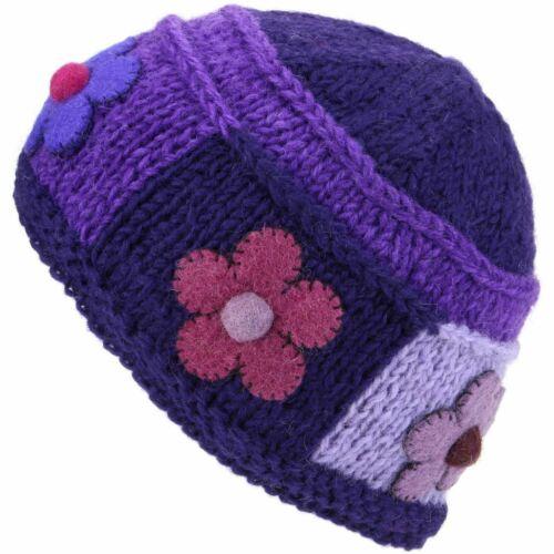 Wolle Gestrickte Beaniemütze Damen Warm Winter Gestrickt Blume Patch Gefüttert