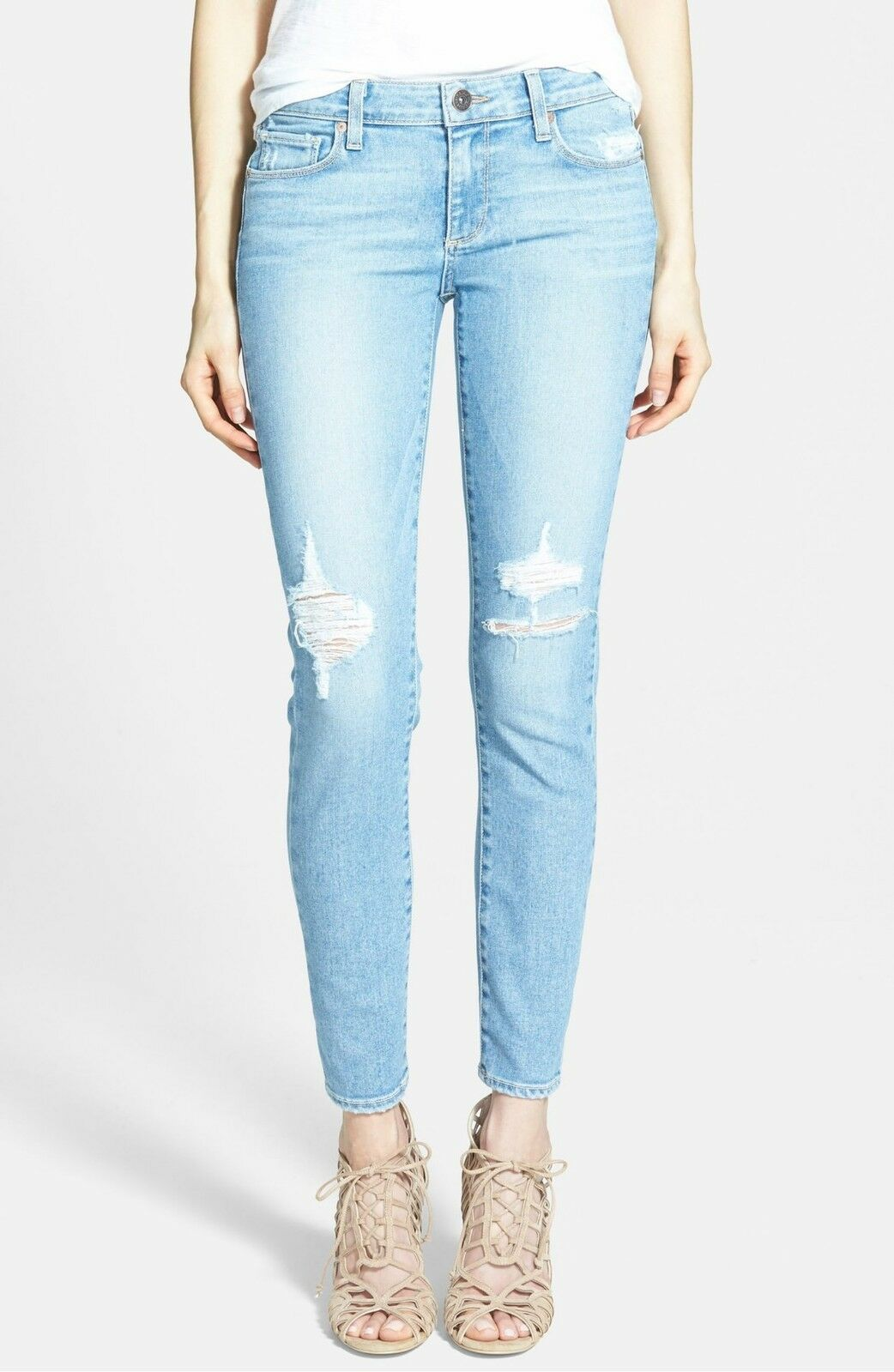 238 Paige Denim Women's SKYLINE ANKLE Peg Jeans in Serena Destructed Sz 29 NWT