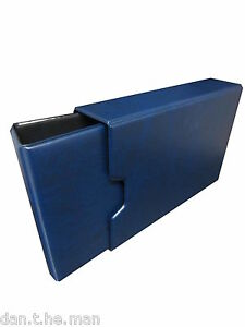 "BLUE ""GLEN"" 2 RING PADDED COLLECTORS BINDER / ALBUM WITH OPTIONAL SLIPCASE"