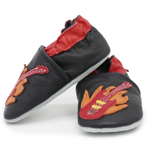 carozoo guitar black 5-6y soft sole leather kids shoes