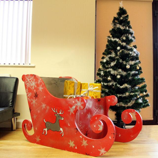 Slitta di Babbo Natale per Natale 120cm Semplice Senza Disegni in Legno MDF