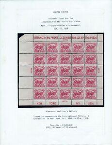 US STAMP SCOTT # 630 MLH -WHITE PLAINS STAMP Americas First SOUVENIR SHEET -1926