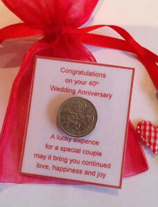 Image is loading Ruby-Wedding-Anniversary-Lucky-Sixpence-Gift-40th