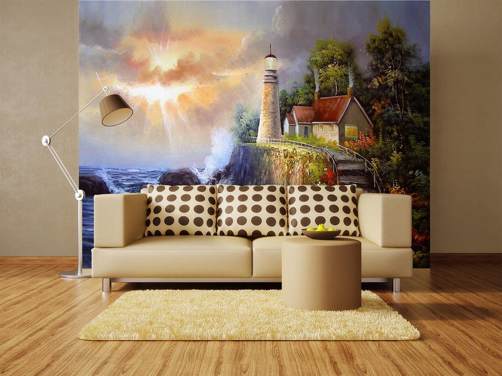 3D Haus am Strand in Sonne 86 Fototapeten Wandbild Fototapete BildTapete Familie