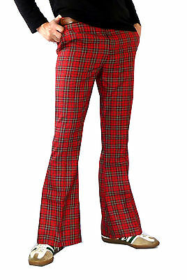 FLARES Tartan Pants red mens bell bottoms hippie vtg indie trousers 60's 70's