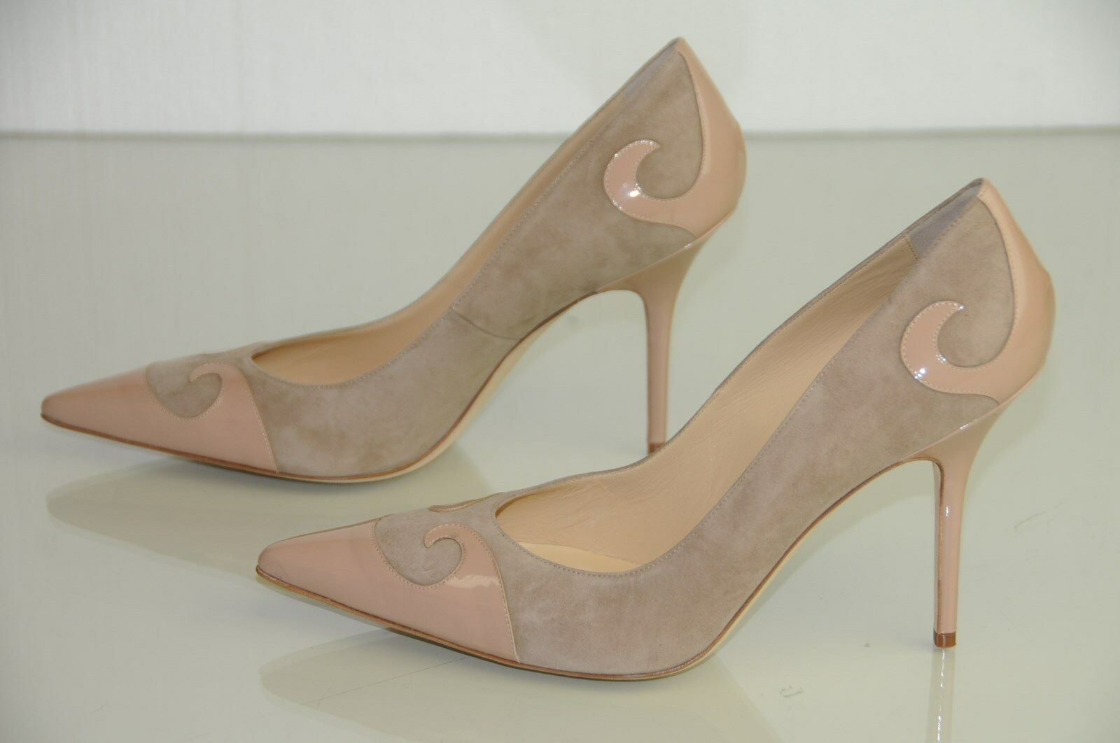795 New Manolo Blahnik ROVASENDA NUDE BEIGE Flesh Suede Patent BB shoes 42 39