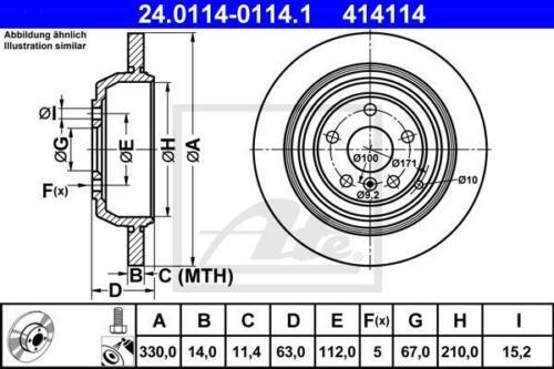2 x Bremsscheibensatz Ø330mm Hinten MERCEDES-BENZ ATE 24.0114-0114.1