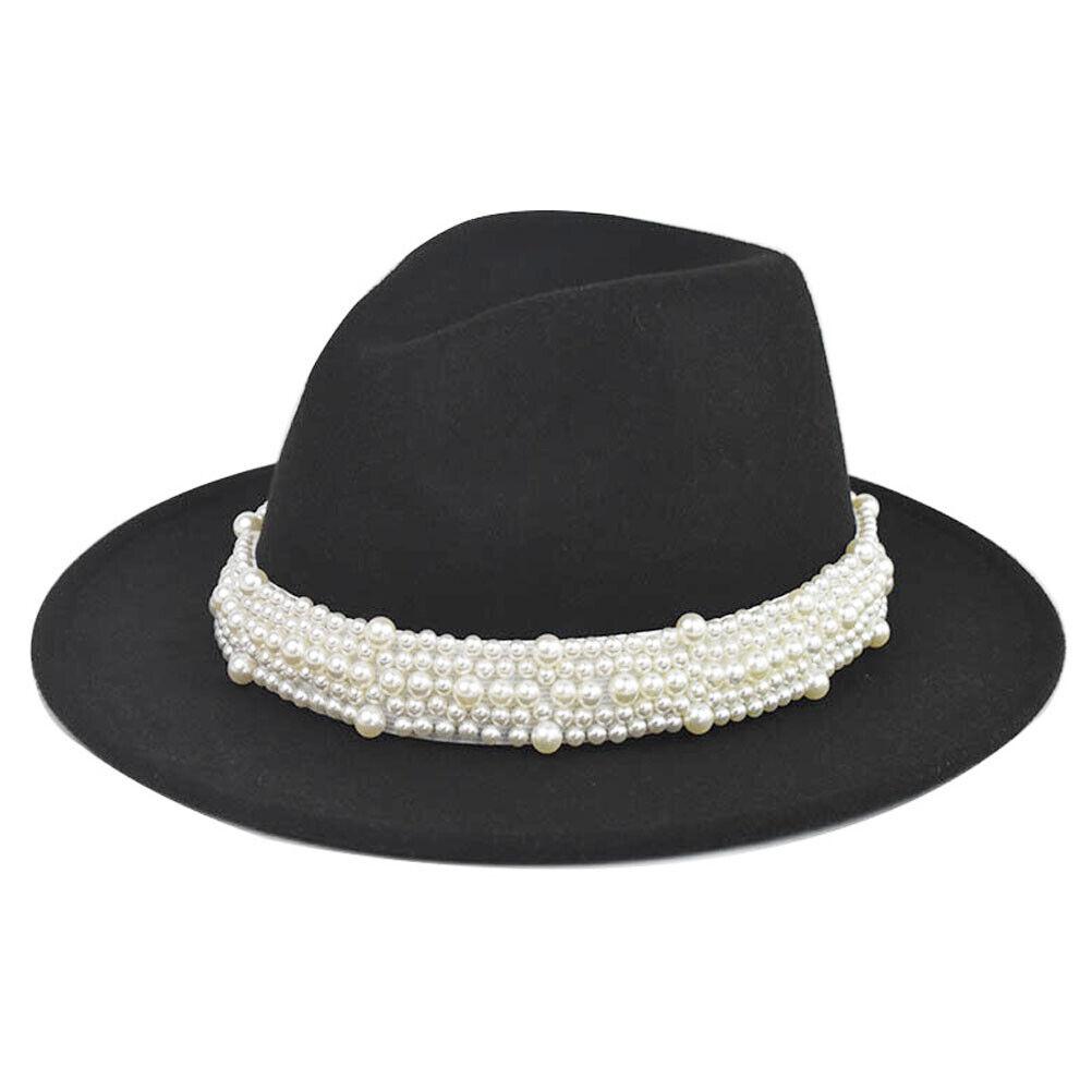 Autumn Winter Retro Women Pearl Wool Fedora Hat Cap Big Wide Brim Flat Top Hats