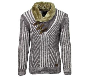 LCR Men/'s Fashion Slim Fit Tricot Pull Couleur chocolat//Tan 5415