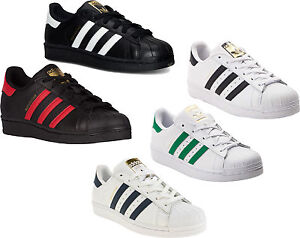 d6a3561dc900 Adidas Originals Superstar J Shoes Kids Sneakers White Black NEW