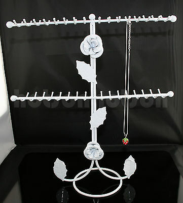 64 Hook White Floral Jewellery Necklace Ring Display Metal Stand Rack Holder