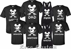 Disney-FAMILY-Pirate-Minnie-amp-MICKEY-Mouse-Customized-Printed-T-shirt-Birthday