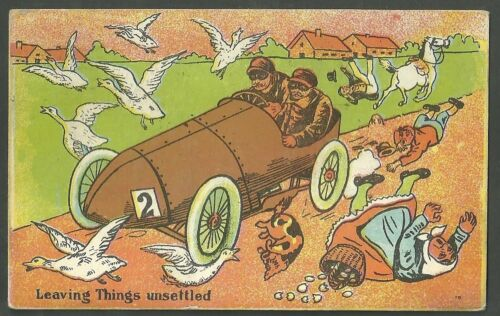 1907 Used Car Racing Comic Postcard Leaving Things Unsettled