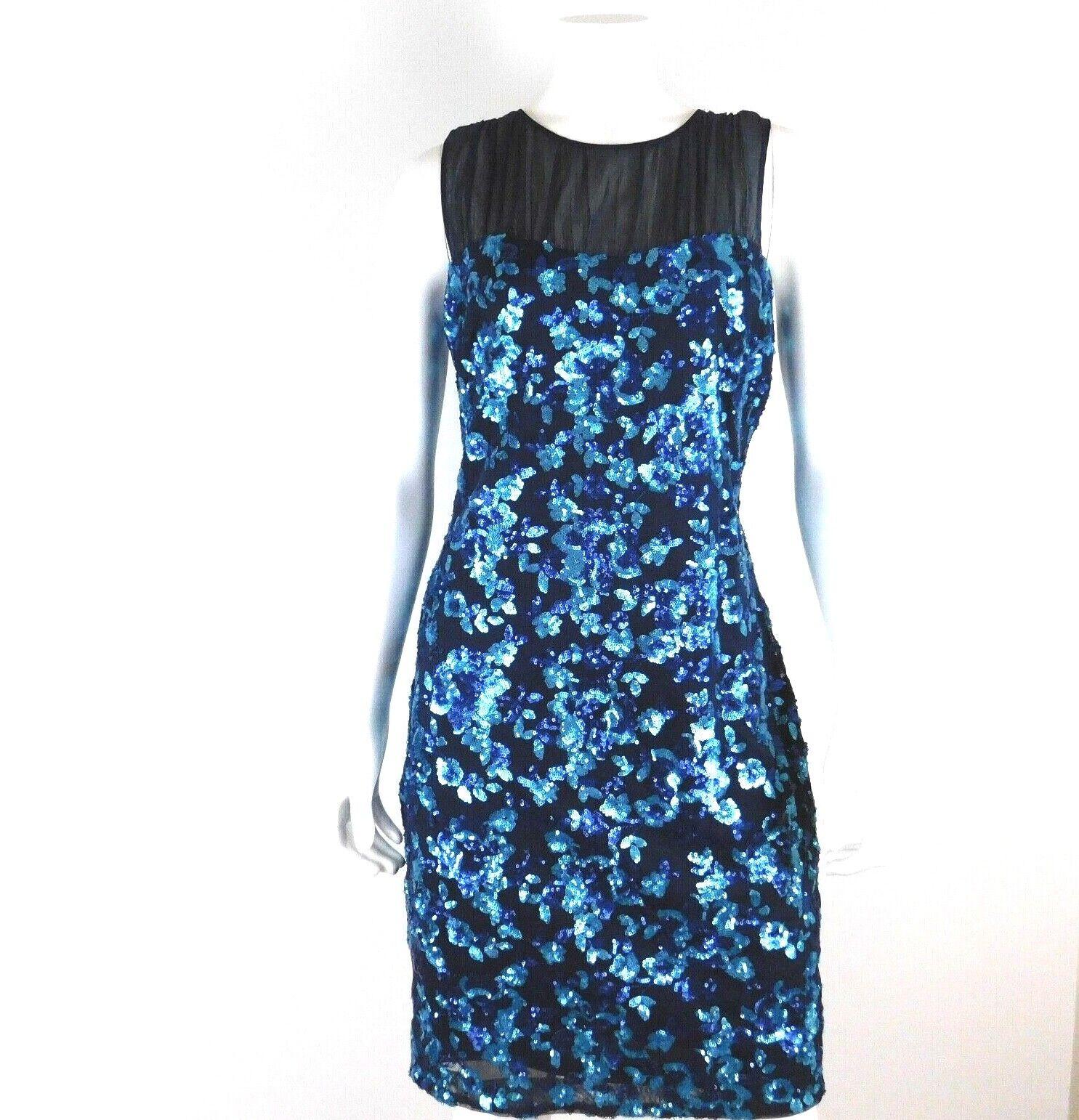 Belle Badgley Mischka Navy Blau Sequin Mesh Floral Sleeveless Party Dress Größe 8