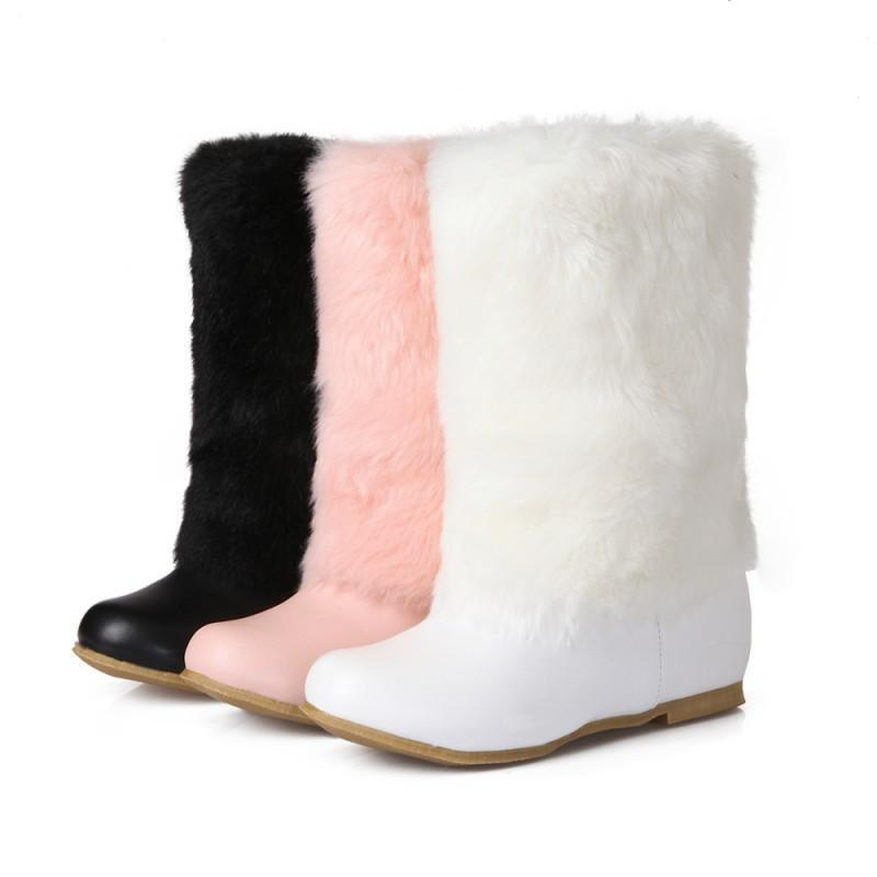 Women Furry Warm Sweet Pull On Snow Boots Flat Fur Boots Flat Wedge Heels shoes
