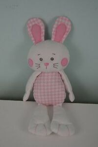 dd96eae0b Details about Baby Ganz Houndstooth Bunny Rabbit Plush Stuffed Animal Pink  White 15