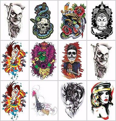 ram head black large 8.25 half-sleeve arm tattoo face decor stickers