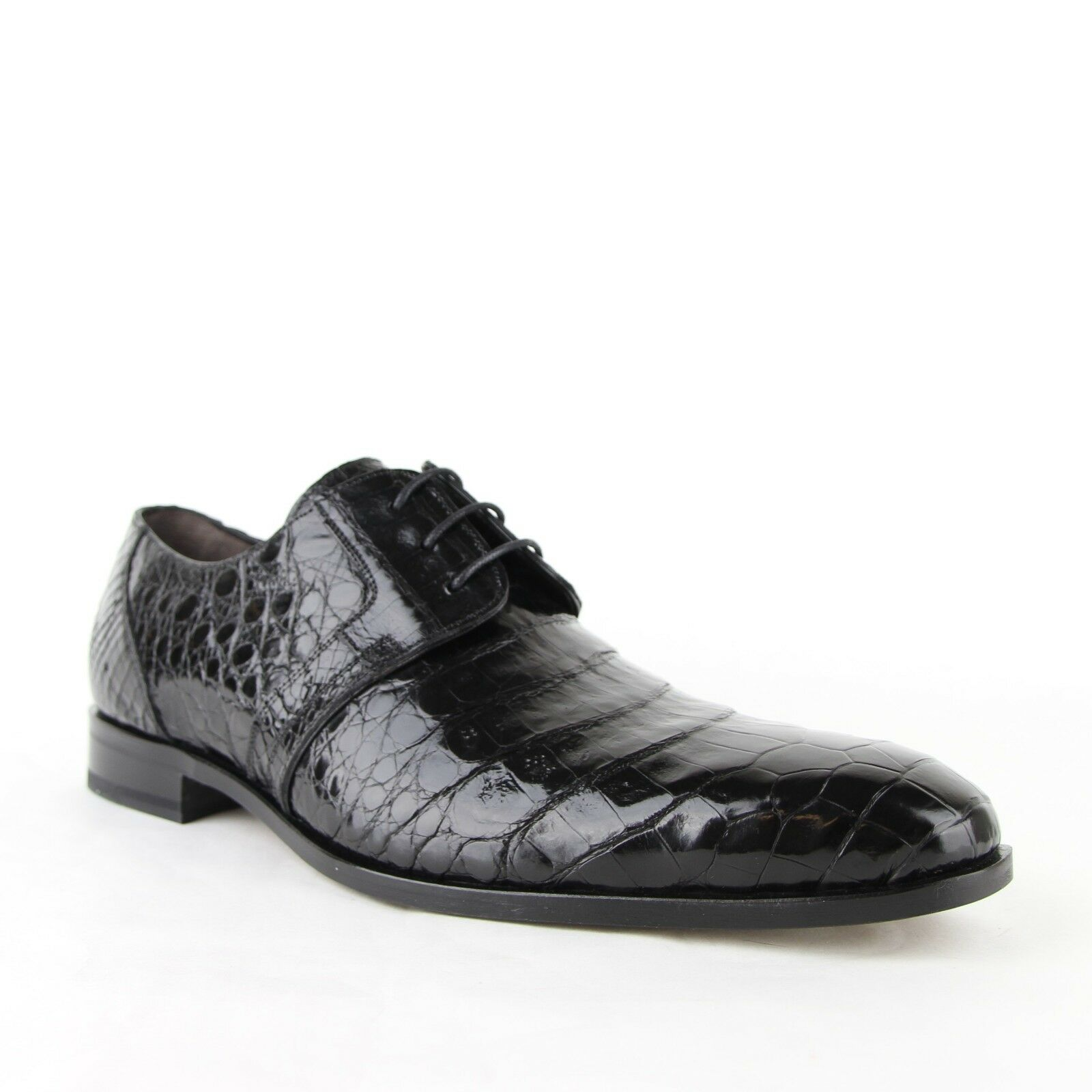 Neuf Chaussures Homme Crocodile Noir Derby Lacets Robe Chaussures