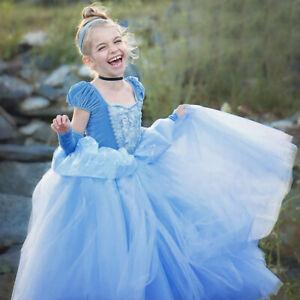 Cinderella Dress  Princess Girls dress Costume Party Birthday Gift  UK STOCK