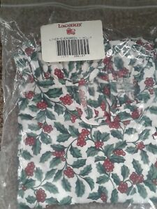 Longaberger-Evergreen-Basket-TRADITIONAL-HOLLY-Liner-Fabric-OTE-NEW-Christmas