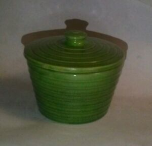 Antique-Retro-Vintage-Lime-Green-Ring-Ware-Pottery-Grease-Jar-Lid-RARE-BAUER