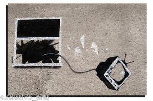 XL BANKSY GRAFFITI ART KID STOP AND SEARCH DEEP FRAMED WALL ART CANVAS PRINT