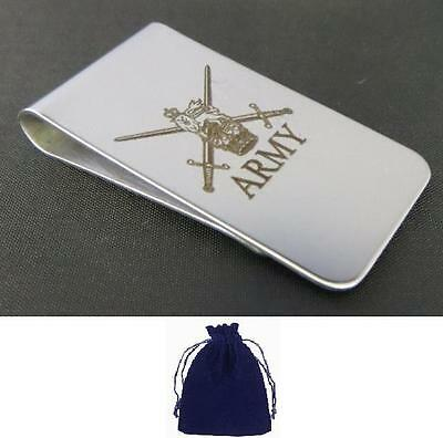 BRAND NEW STAINLESS STEEL REGIMENTAL CREST MONEY CLIPS, RE, REME, AGC, RA & MORE