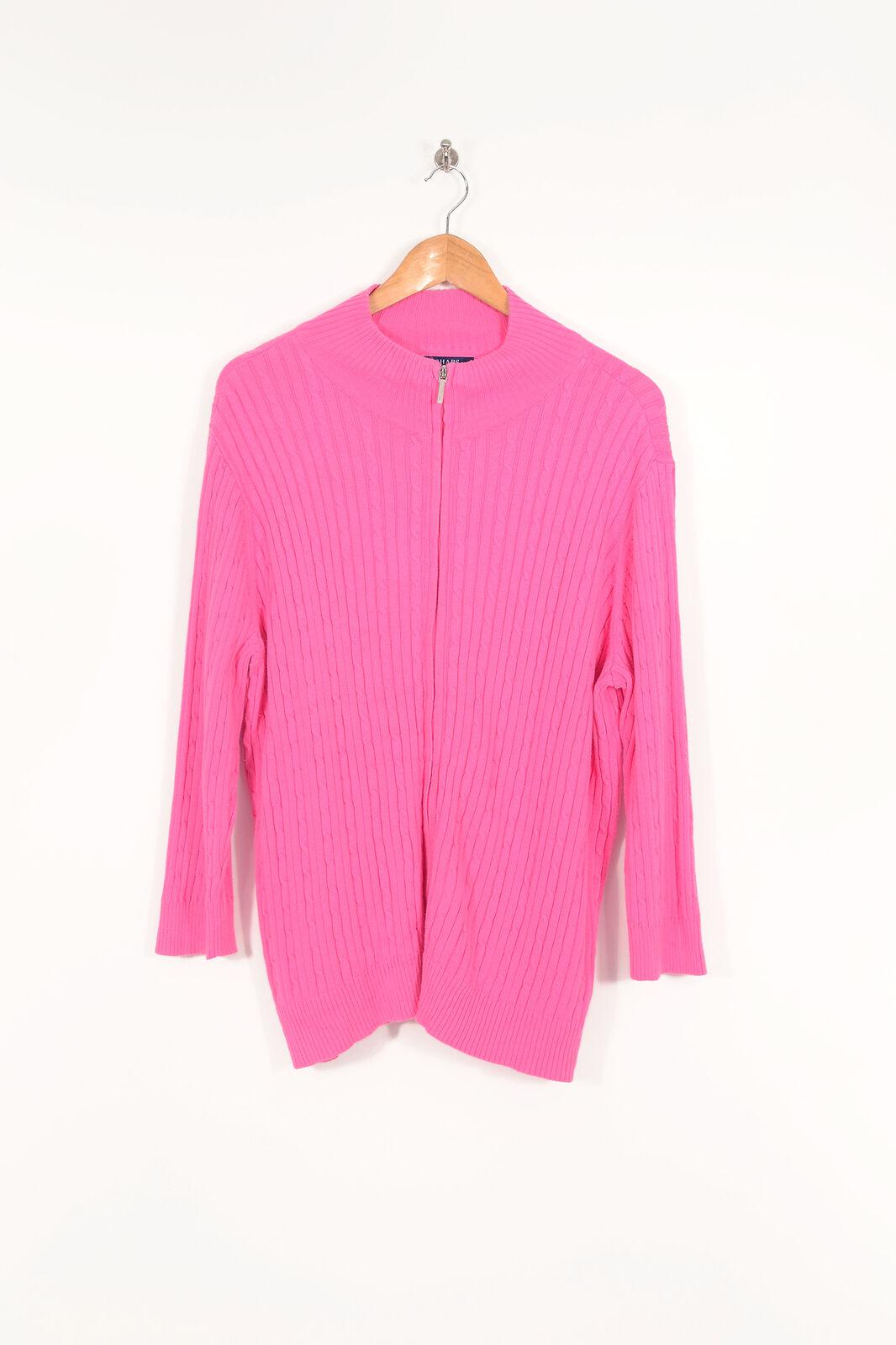 Vintage Women's RALPH LAUREN Chaps Cable Knit Cardigan Hot Pink (XXL)