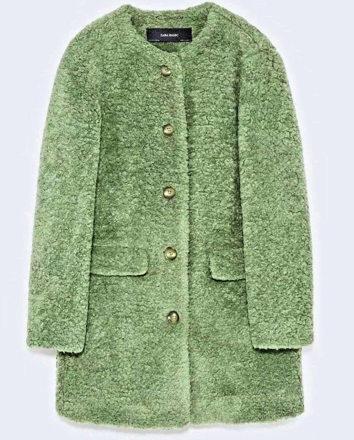 NEW ZARA Shearling Faux Fur Textured Coat Designer Runway Bloggers Fav L,