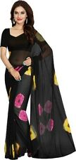 Ezone Geomatric Black Indian Bollywood Designer Georgett Saree - Sari