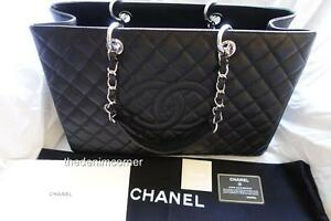 1d872de811f39d BRAND NEW Chanel Grand Shopping Tote XL black Caviar leather Silver ...