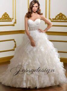 Weiss-Brautkleid-Hochzeitskleid-Ballkleid-Rueschenrock-Kristallen-Perlen-Guertel