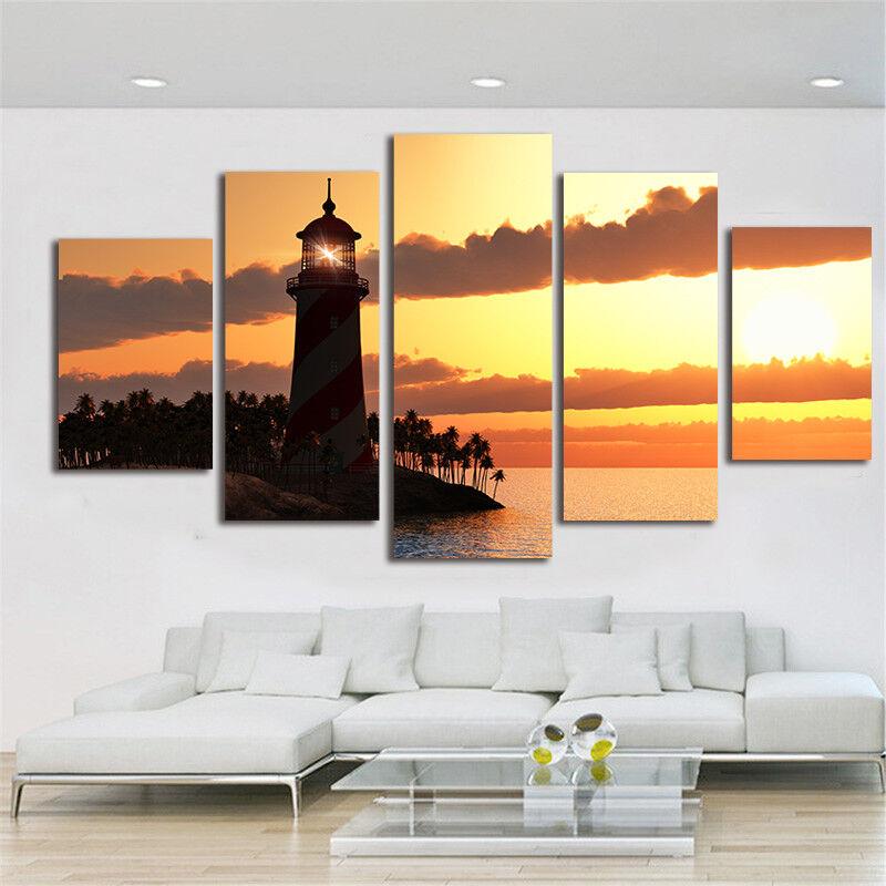 Tropical Island Lighthouse Sunset 5 Piece Canvas Print Wall Art