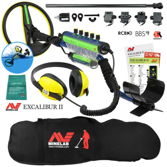 Minelab Excalibur II 1000 Waterproof Metal Detector with Black Padded Carry Bag